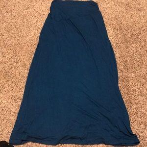 Ankle length maxi skirt with asymmetrical waist